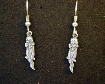 Sterling Silver Otter Earrings on Heavy Sterling Silver French Wires