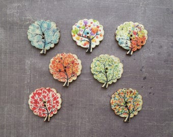15 buttons wood Nature tree pattern multicolor sheet