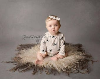 Sitter 'LENA'  butterfly romper ivory black romper & headband  baby girl photo prop  romper