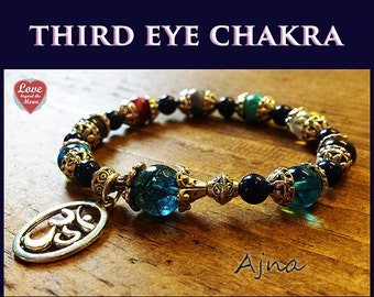 Psychic Ability & Higher Self AJNA ~Third Eye CHAKRA activating Om Bracelet Kyanite, Aqua Aura, Angel Aura Quartz, Amethyst, Sugilite