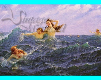 s212 SEA SIRENS FABRIC Vintage Mermaids Painting Cotton Mermaids Fabric Block Mermaids Applique