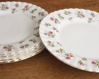 Five Vintage Royal Albert Salad/ Entree Plates ~ Bone China 'Winsome' pattern ~ High Tea Wedding Gift for Her ~ Replacement Mismatched China