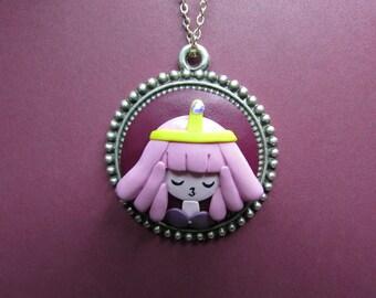 Polymer Clay Princess Bubblegum Pendant,Adventure Time Pendant