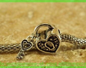 Pearl European bail N277 padlock heart charms bracelet