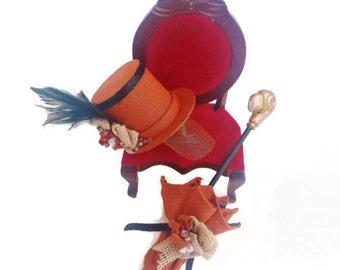 Dollhouse miniature hat and parasol 1:12 scale / miniature steampunk hat and umbrella / miniature doll clothes / roombox miniature hat shop