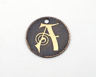 Handmade etched copper letter charm, flat round metal initial A jewelry supply, 22mm