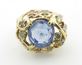 Vintage Estate 14 kt Gold Modern Sapphire & Diamond Ring.
