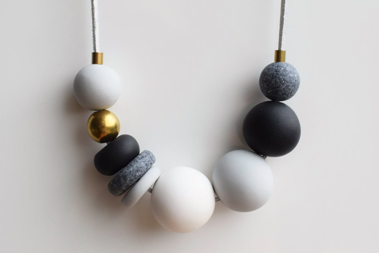 Gray Statement necklace Black and White necklace Handmade