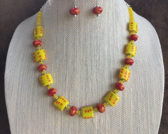 Yellow and orange necklace set