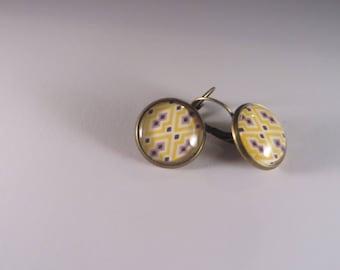Earrings sleepers vintage mustard yellow