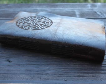 Dark Brown Celtic-Knot Leather Journal