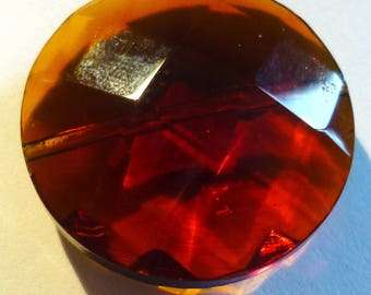 Brown caramel glass bead faceted 29mm