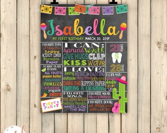 Fiesta Party First 1st Birthday Milestone Chalkboard Poster, Cinco de Mayo, Mexican Party, Taco Birthday, Maracas, Uno, Sombrero, DIGITAL