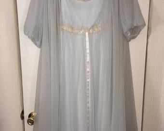 Vintage Pale Blue 2 pc Peignoir (nightgown + robe)