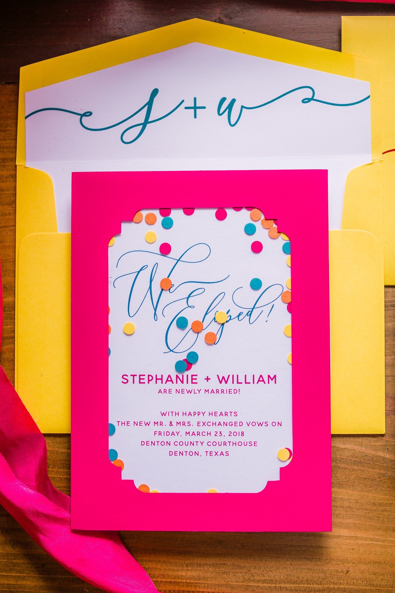 Bright Colors Elopement Wedding Invitation Announcement with ...