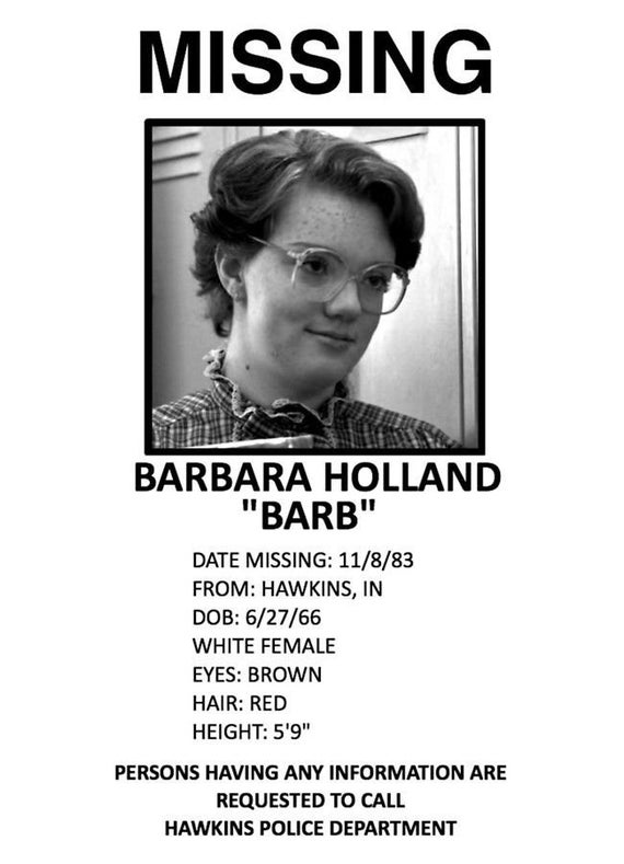 Netflix Stranger Things Barb Holland Missing Poster