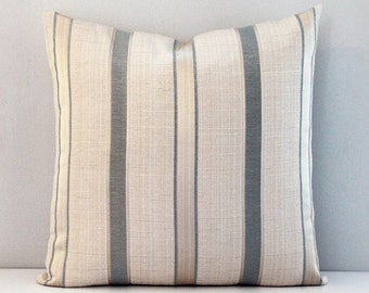 Seafoam and cream stripe cushion cover