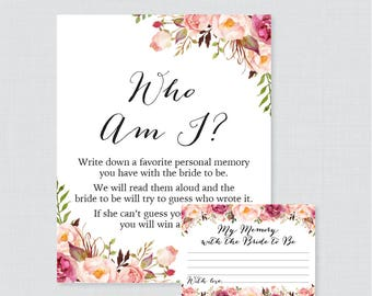 Who Am I Bridal Shower Game - Printable Pink Floral Bridal Shower Memory Game - Memory With the Bride Guessing Game - Rustic Flower 0004