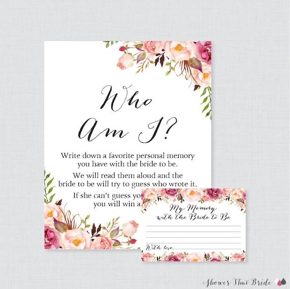 Who Am I Bridal Shower Game Printable Pink Floral Bridal