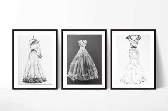 Wedding Dress Sketch Gift: Wedding Illustration Custom Wedding Sketch First Year Paper
