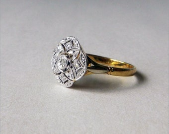 Edwardian two tone filigree 18k yellow gold and platinum rose cut diamond antique engagement ring size 6.75