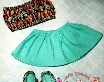 Beautiful feather and mint baby set!!