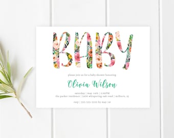 Baby Shower Invitation, Floral Baby Shower Invite, Pretty Baby Shower Invite, Printable Baby Shower Invite, Baby Sprinkle Invitation [449]