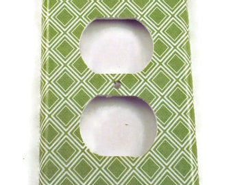 Light Switch Cover  Outlet  Wall Decor Switch Plate in  Sage Diamonds  (107O)