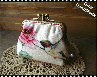 Hummingbird Two-compartment Coin purse / kiss lock purse / wallet / Pouch coin purse / Kiss lock frame purse bag-GinaHandmade