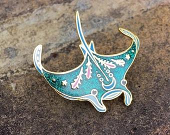 PEACHish manta ray hard enamel lapel pin flair. Salty Sea Series mermaid pin