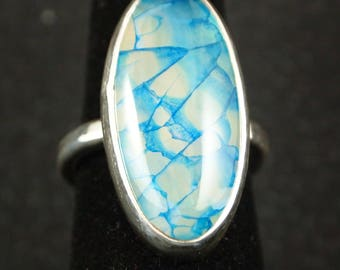 Blue Dragon Veins Agate and Sterling Silver Ring Size 8 1/4