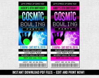Cosmic Bowling Invitations - Ticket Style Birthday Bowl Invite - (Instant Download) Editable and Printable PDF Files  - Neon Glow Party