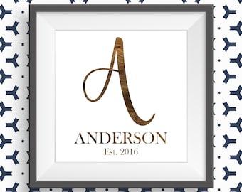 Customizable Printable Wood Initial & Last Name Image
