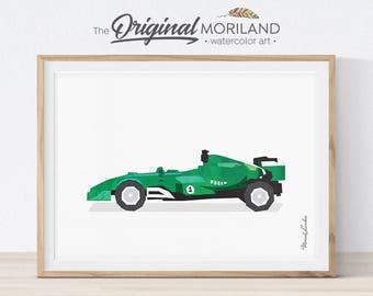 Racing Car Print, Race Car Nursery Decor, Toddler Wall Art, Transportation Wall Art, Boys Room Decor, Race Car Birthday