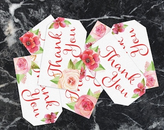Flower Thank You Tags, PRINTABLE Thank You Tags, Floral Wedding, Wedding Favors, Thank You Tags,  Party Thank You tags, Bridal Shower, Baby