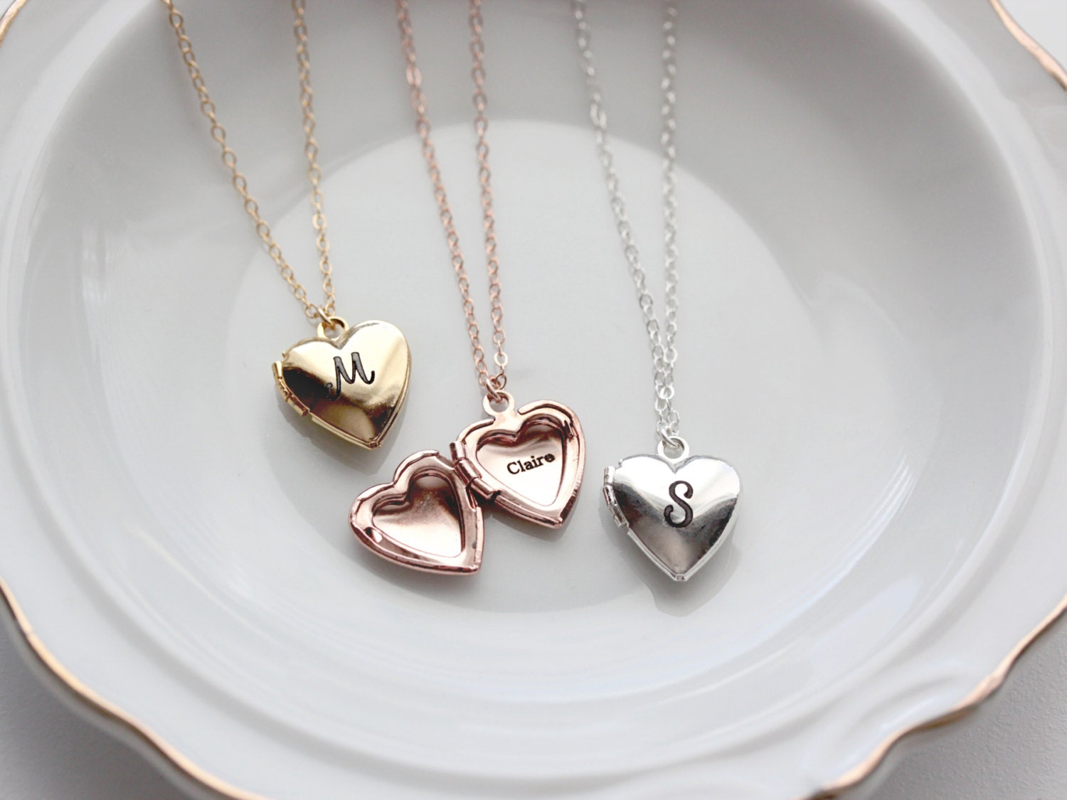 personalized locket initial graduation medium media gift bridesmaid heart annie lockets girlfriend necklace silver engraved