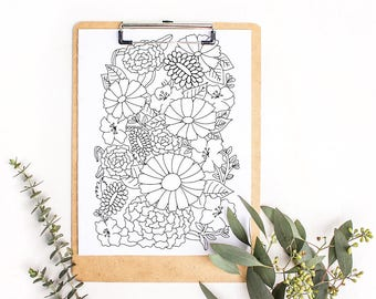 Printable Floral Coloring Page: A digital coloring page for adults with abstract flowers and leaves. Simple design perfect for a beginner.