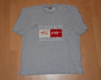 Tommy Hilfiger t-shirt, vintage gray Tommy shirt of 90s hip-hop clothing, 1990s hip hop, old school, OG, gangsta rap, size L Large