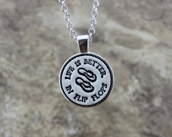 Life is Better in Flip Flops Handmade Pottery Necklace