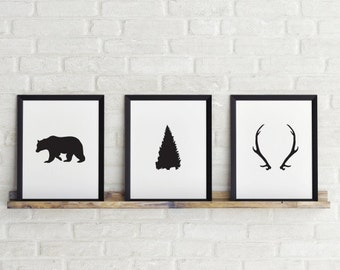 Set of 3 prints, 5 x 7 in, Bear, Tree & Antlers Prints, Black and white print, Printable Art, Scandinavian Print, Instant Download