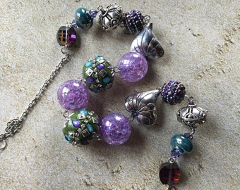 Purple and Green Glass Statement Necklace, Beaded Necklace, Beadwork Necklace, Gifts For Her, Trending Item