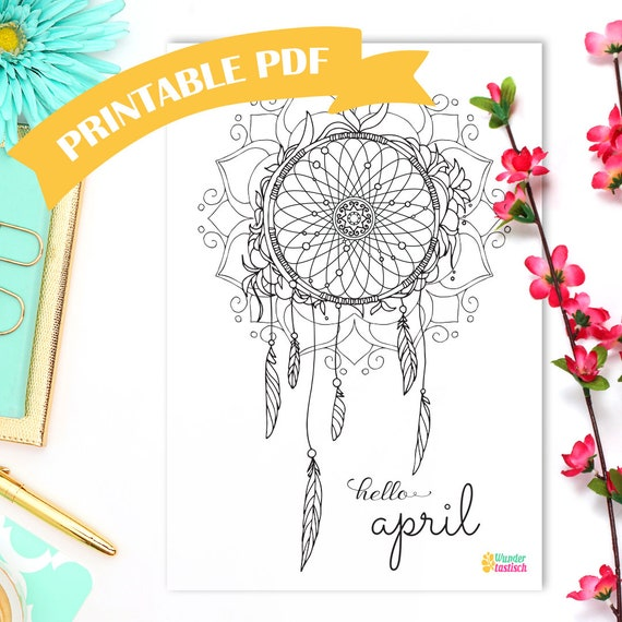 Printable Dreamcatcher Coloring Page • Monthly Bullet Journal Printables •  Hello April • Adult Coloring Page • Bohemian Printable • Boho PDF from ...