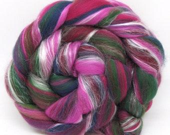 Merino and Silk Combed Wool Top Blend Fuchsias  100g 3.5oz