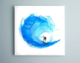 Surf watercolor painting - Giclee print Surf art surfboard painting  Wave Aqua Blue Zen drawing by Michelle Dujardin Surf  Aquarelle