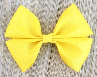Yellow Stacked Grosgrain Ribbon Hairbow for Girls back to school everyday wear on a french Barrette or clip or baby headband