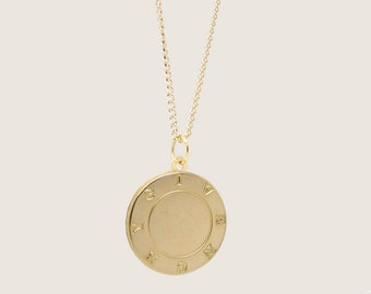 Re-Worked Vintage Givenchy Necklace Shiny Gold Pendant Engraved Logo Border