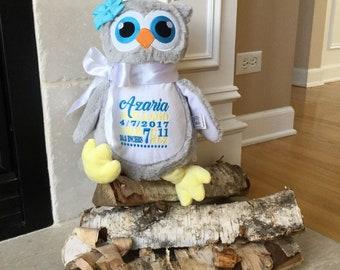 Personalized Stuffed Animal, Plush Owl, Birth Stats Keepsake,Personalized Gift, Announcement Stuffed Animal, Little Elska