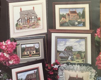 ENGLISH COTTAGES Cross My Heart Inc 1990 Melinda Vintage Counted Cross Stitch Chart Pattern Leaflet Booklet