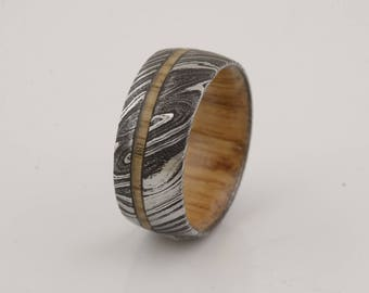 wood ring DAMASCUS steel ring wood wedding band man ring WHISKEY whisky BARREL wood
