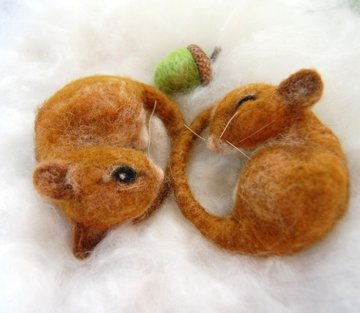 Harvest Mice Needle Felted Pair Of Mice Two Felted Mice